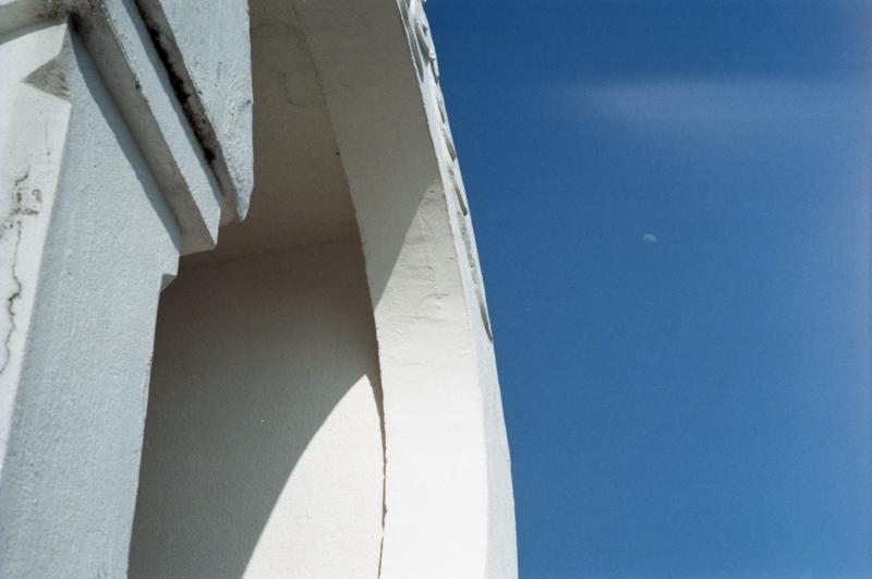 white pagoda and moon